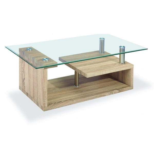 Bernard Coffee Table Clear Glass Natural Wooden Frame