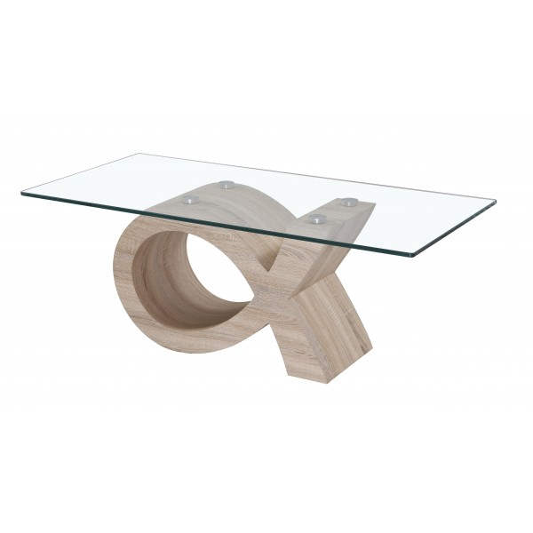Cape Coffee Table Clear Glass Rectangle Top Natural Finish Wooden Curved Frame