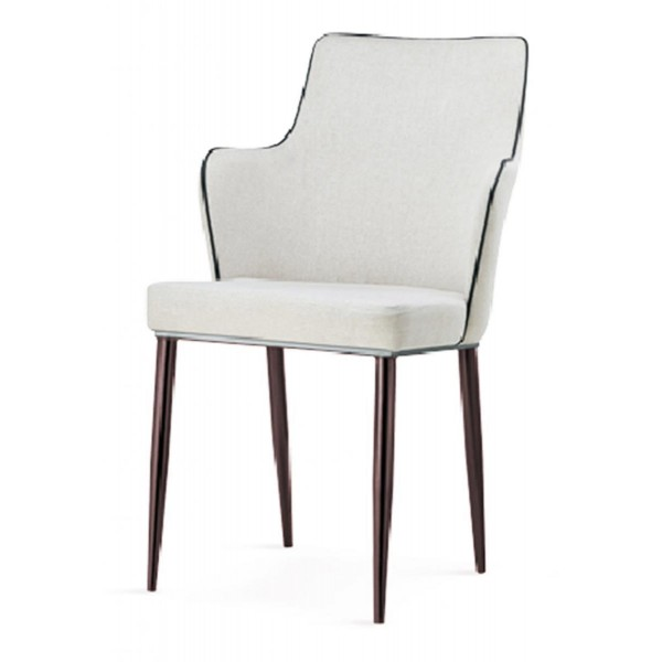 Capri Dining Table Chairs White Leather Black Edge Trim Metal Legs in Walnut Finish