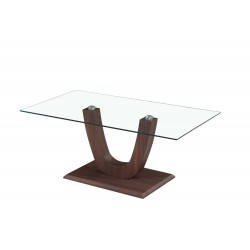 Capri Coffee Table Clear Glass Rectangle Top Wooden U shaped Frame Walnut Finish