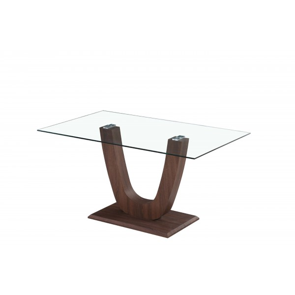 Capri Dining Kitchen Table Clear Glass Wooden Frame Walnut Finish