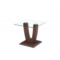 Capril Lamp Table Clear Glass Square Top Wooden U shaped Frame Walnut Finish