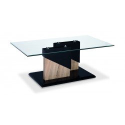 Coopers Coffee Table Clear Glass Top Black Gloss Base Wooden Frame Natural Finish