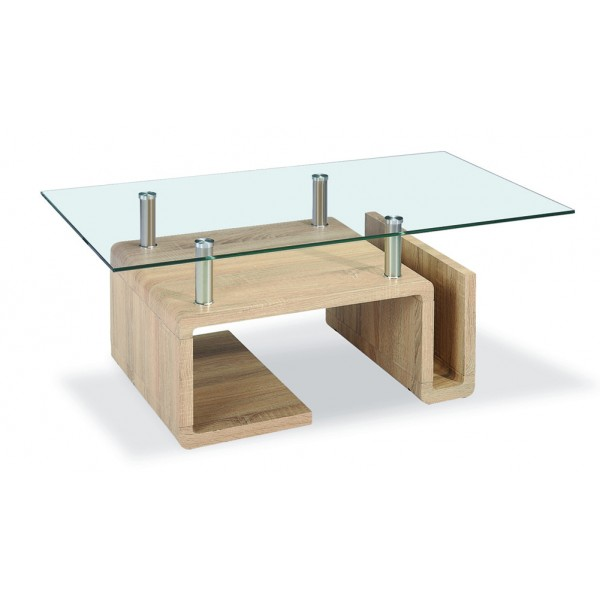 Edith Coffee Table Clear Glass Natural Wooden Frame