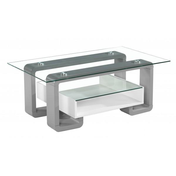 Eiffel Coffee Table Cler Glass Rectangle Top Grey & White Gloss Frame Clear Glass Shelf