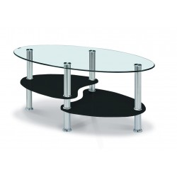 Hurst Coffee Table Clear Glass Oval Top Black Glass Shelf Chrome