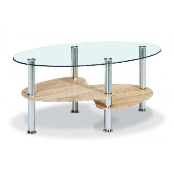 Hurst Coffee Table Clear Glass Oval Top Wooden Shelf  Chrome Frame