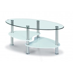 Hurst Coffee Table Clear Glass Oval Top White Glass Shelf Chrome