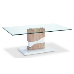 Milton Coffee Table Clear Glass Rectangle Top White Gloss Base Wooden Frame Natural