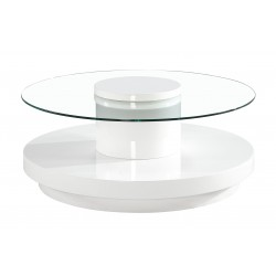Nebula Coffee Table Clear Glass Round Top White Gloss Round Base (80cm x 80cm)
