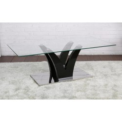 Opal Coffee Table Clear Glass Black Gloss Frame Stainless Steel Base