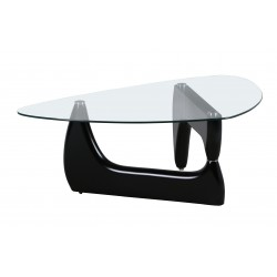 Paco Coffee Table Black Gloss Frame Clear Glass Top Oval Shape