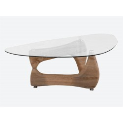 Paco Coffee Table Natural Frame Clear Glass Top Oval Shape