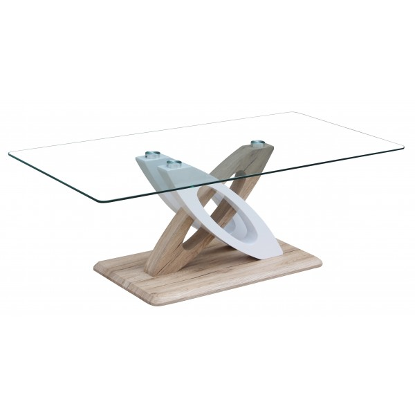 Solar Coffee Table Cler Glass Rectangle Top White Gloss Frame Natural Wooden Base