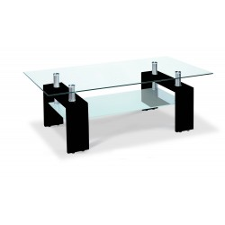 Telford Coffee Table Clear Glass Top Frosted Glass Shelf Gloss Black Legs