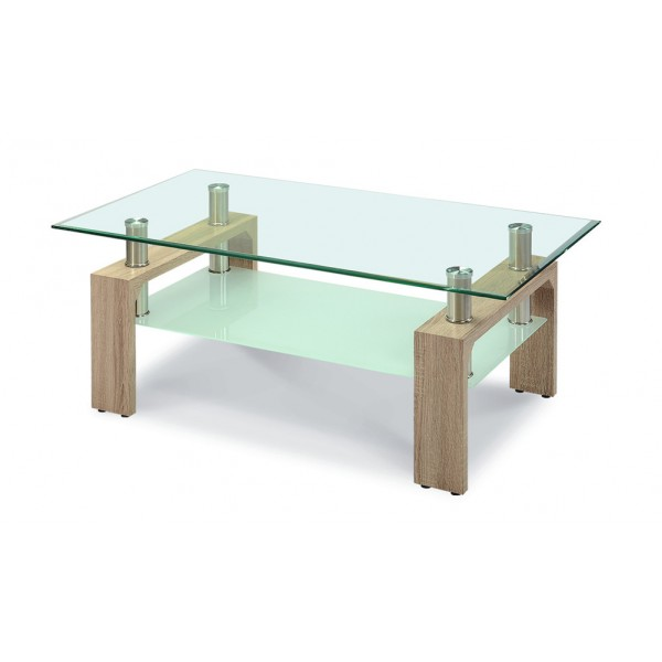 Telford Coffee Table Clear Glass Top Frosted Glass Shelf Gloss Wooden Legs