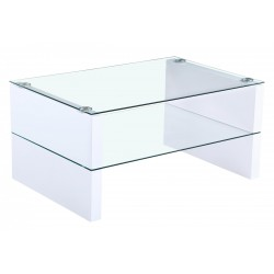 Truro Coffee Table Cler Glass Rectangle Top White Gloss Frame Clear Glass Shelf
