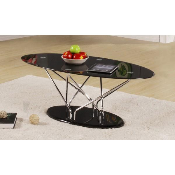 Uplands Coffee Table Black Glass Oval Top Chrome Frame Black Gloss Base