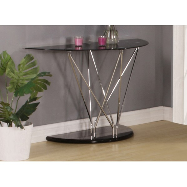 Uplands Console Table Hall Side Table Display Stand Black Oval Glass Top Chrome Frame