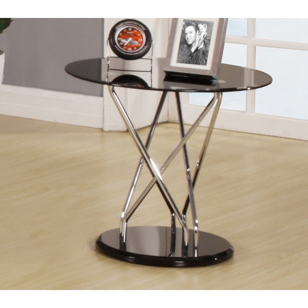 Uplands Black Round Glass Lamp Side End Coffee Table Chrome Frame