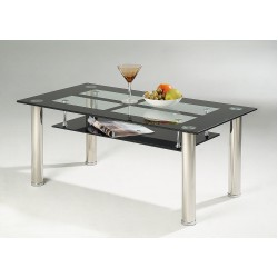 Vegas Coffee Table Black & Clear Glass Rectangle Top Under Shelf Chrome Tube Legs