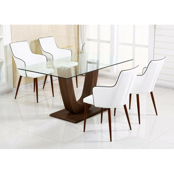 Capri Dining Kitchen Table Clear Glass Wooden Frame Walnut Finish Four White Leather Chairs