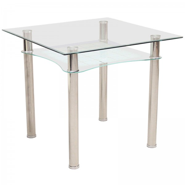 Jazo Clear Glass Square Dining Table Chrome Legs Shelf