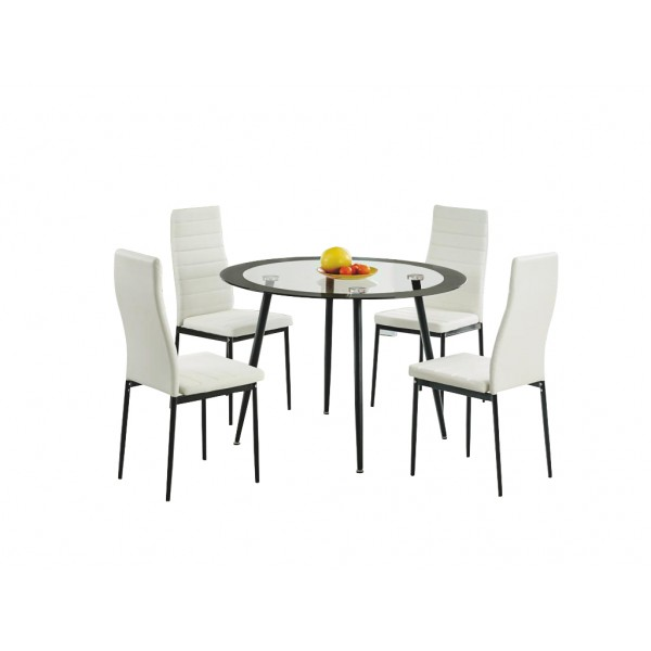 Acodia Clear Glass Round Dining Table with Four White Leather Chairs