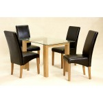 Adina Kitchen Dining Table Set Clear Glass Chrome Frame Four Black Leather Chairs