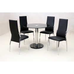 Alonza Black Glass Round Dining Table Set Four Black Chairs