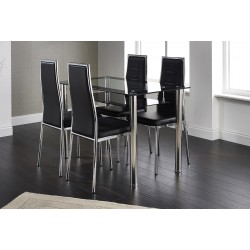 Andorra Dining Kitchen Table Set Clear & Black Glass Top Four Black Leather Chairs