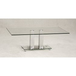 Ankara Coffee Table Clear Tempered Glass Rectangle Top Chrome Frame