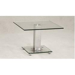 Ankara Clear Glass & Chrome Lamp Side End Table