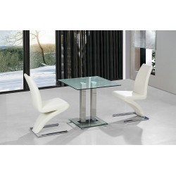 Ankara Kitchen Dining Table Set Square Clear Glass Chrome Frame Two Cream Leather Chairs