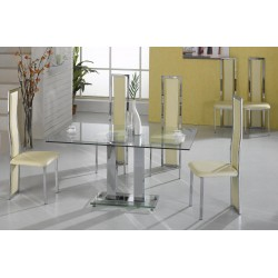 Ankara Kitchen Dining Table Set Clear Glass Chrome Frame Six Cream Leather Chairs