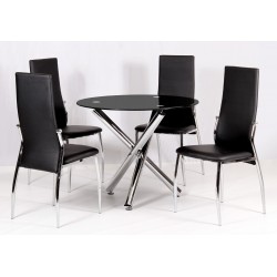 Calder Black Glass Round Dining Table Four Black Leather Chairs