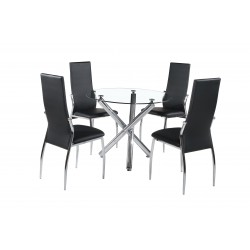 Calder Clear Glass Round Dining Table Four Black Leather Chairs