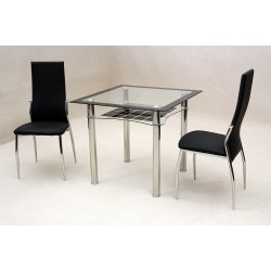 Jazo Black & Clear Glass Square Dining Table with Two Leather Chairs