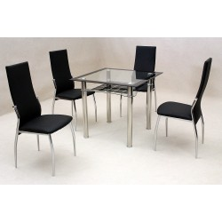 Jazo Clear & Black Glass Square Dining Table with Four Black Leather Chairs