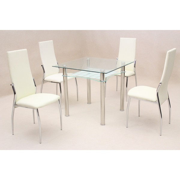 Jazo Clear Glass Square Dining Table with Four Cream Leather Chairs