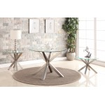 Nelson Dining Table Round Clear Glass Top Brushed Stainless Steel Legs