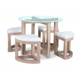 Quarry Dining Kitchen Table Set Round Clear Glass Top Four Small Stools Beech Finish