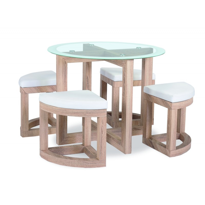 Quarry Clear Glass Round Dining Table With Four Chairs