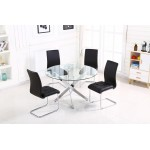 Samurai Dining Kitchen Table Round Clear Glass 120cm Four Black Leather Chairs