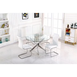 Samurai Dining Kitchen Table Round Clear Glass 90cm Four Leather White Chairs