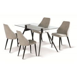 Dining Table Set Clear Glass with and Black Metal Legs 4 Light Grey Fabric Chair