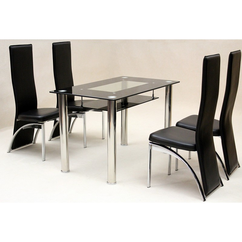 Vegas Black Glass Rectangle Dining Table With Four Black Chairs