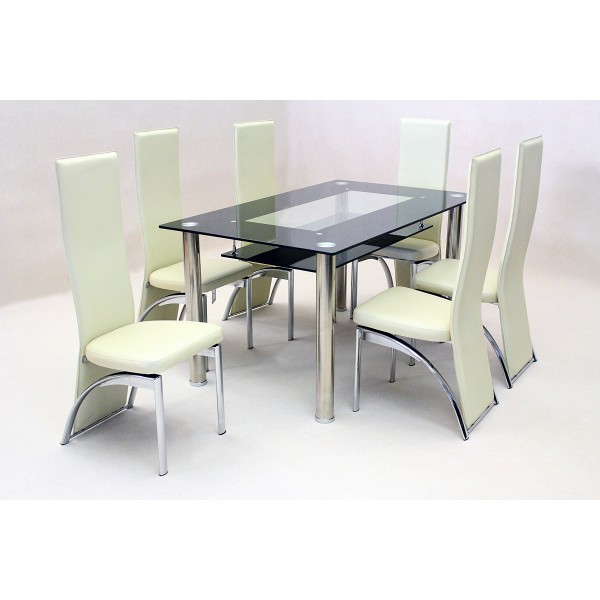 Vegas Black & Clear Glass Dining Table Set Four Black Chairs