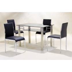 Vercelli Black & Clear Glass Dining Table Set Four Black Chairs