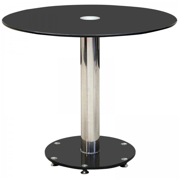 Alonza Black Glass Round Dining Table Chrome Frame